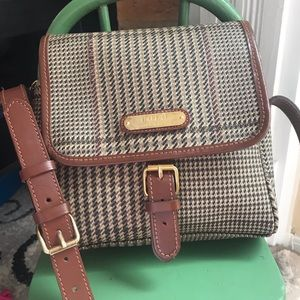 Polo Ralph Lauren glen plaid leather handbag